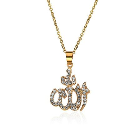 Gold Color Muslim Crystal Necklace